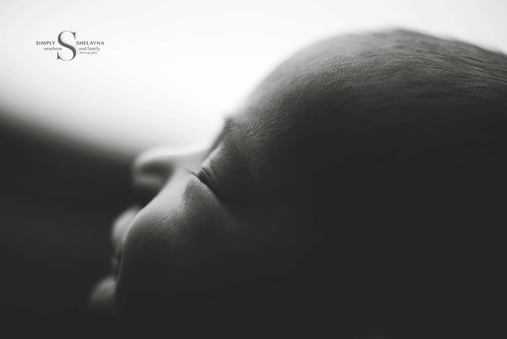 Macro portrait in black and white  CNY Newborn Photography